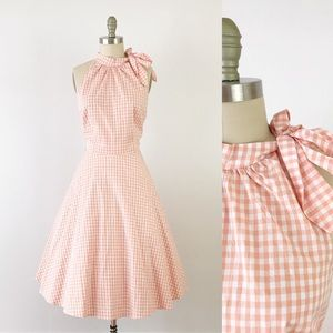 Modcloth Pink Gingham Halter Neck Fit Flare Dress